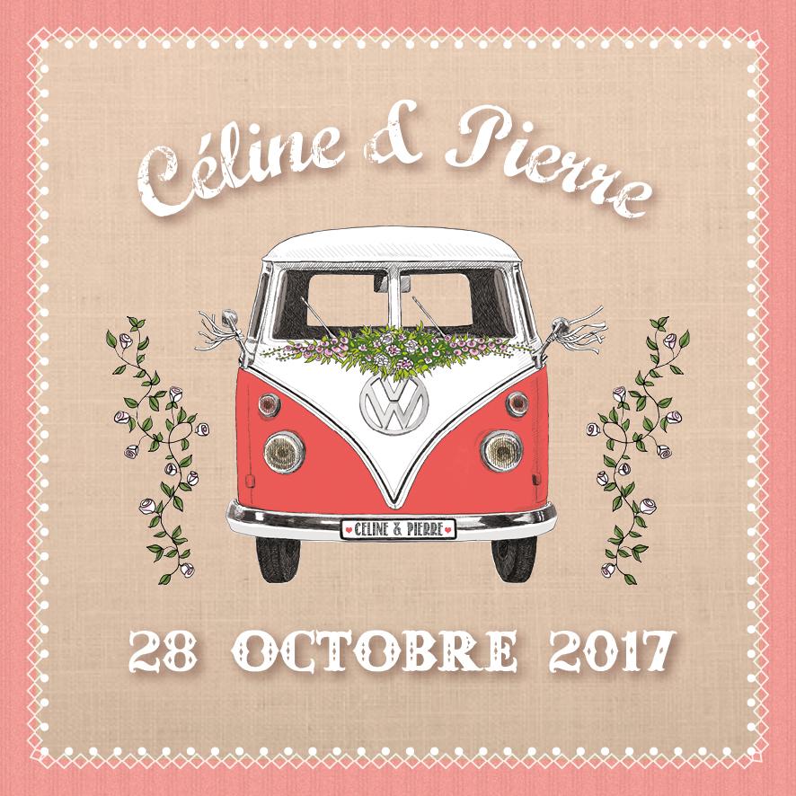 Faire-part Combi VW de Céline et Pierre