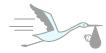 Pictogramme cigogne et bébé pour informations livraison de vos faire-part
