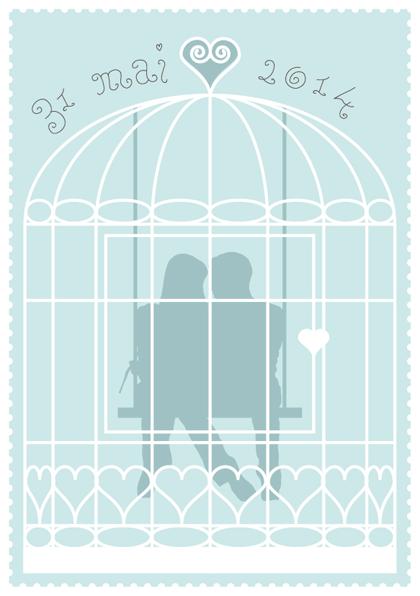 Faire-part de mariage cage à oiseaux