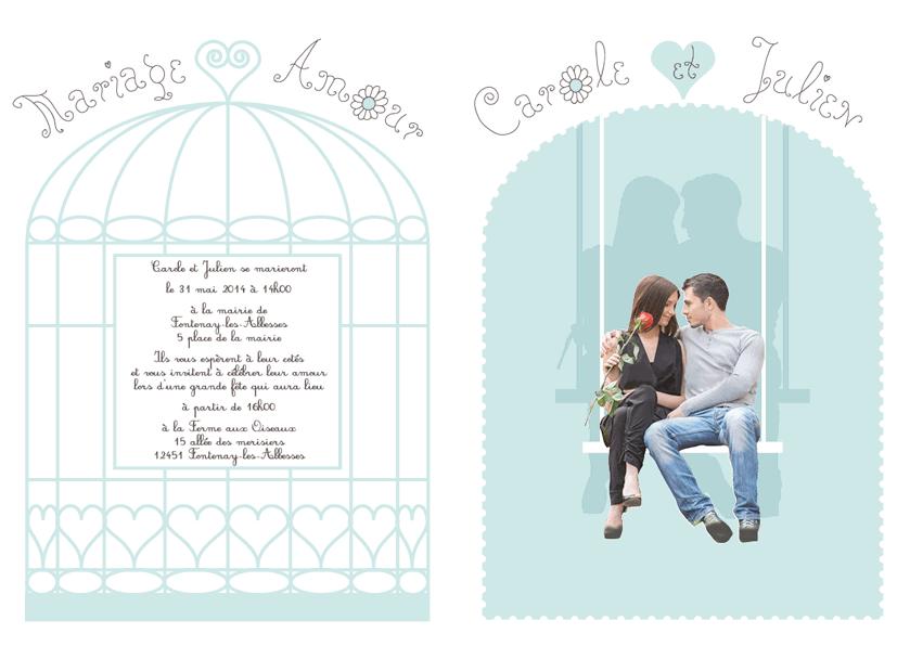 Faire-part de mariage cage à oiseaux pages centrales
