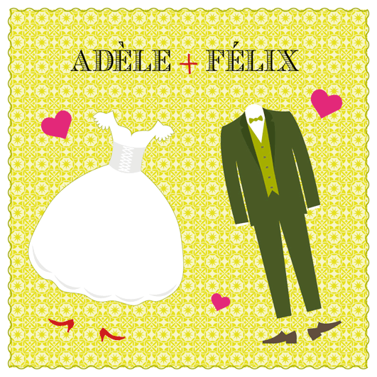 Faire-part de mariage mariés joyeux couverture
