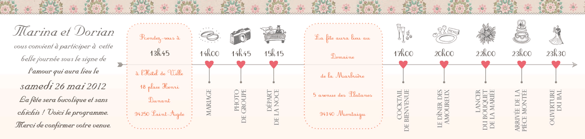 Faire-part de mariage British vintage pages centrales