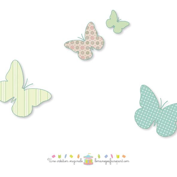 Faire-part de naissance bébé de profil avec papillons dos