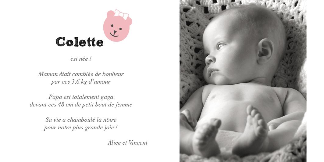 Faire-part de naissance fille avec une petite oursonne rose photo