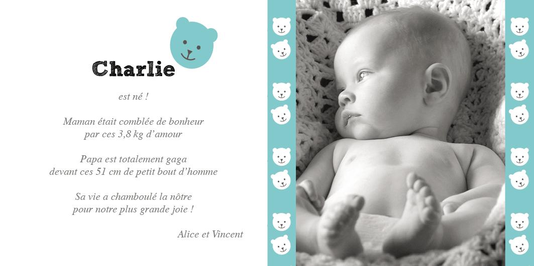 Faire-part de naissance garçon avec un petit ourson bleu option photo
