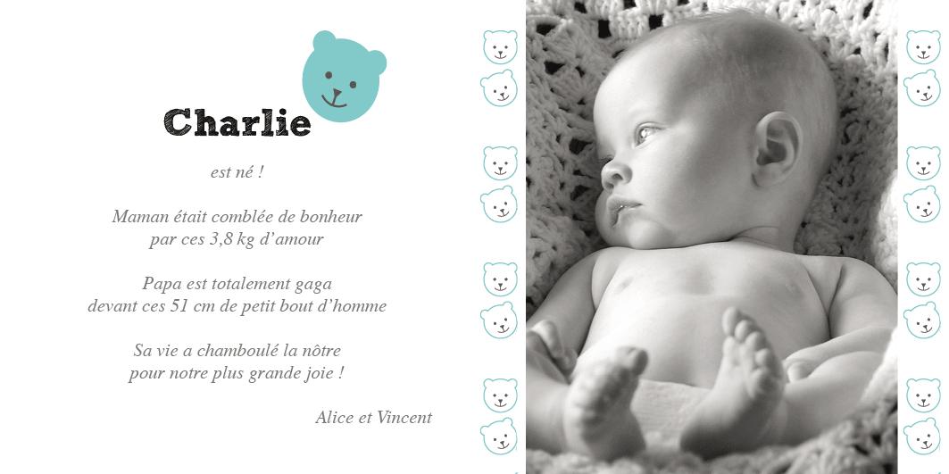 Faire-part de naissance garçon avec un petit ourson bleu photo