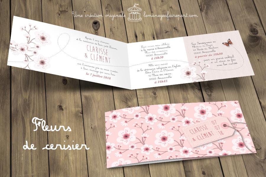 Faire-part de mariage Fleurs de cerisier page 1