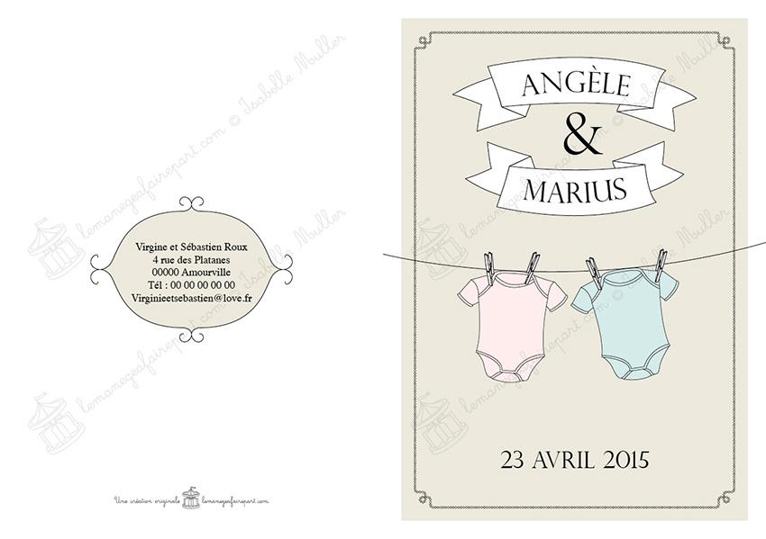 Faire-part naissance jumeaux - Les objets de bébé - pages 4-1