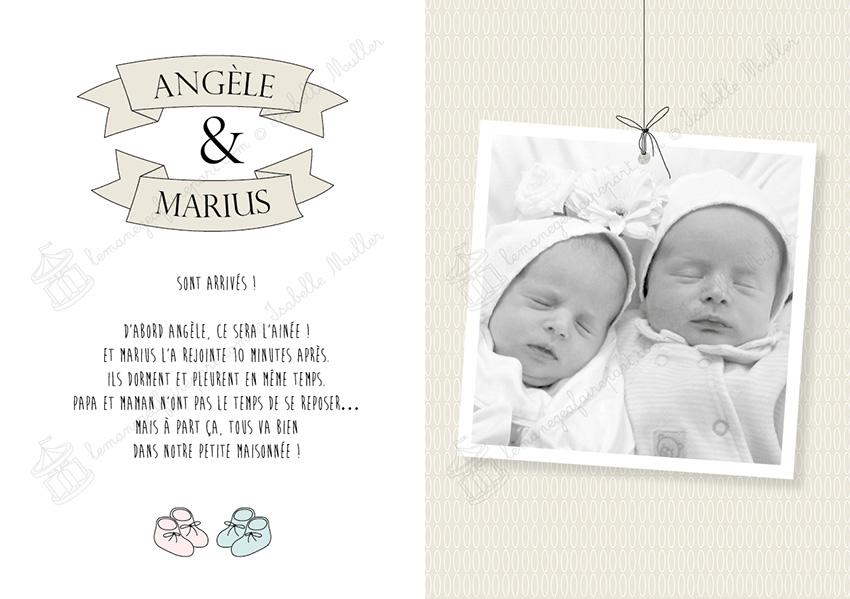 Faire-part naissance jumeaux - Les objets de bébé - pages 2-3