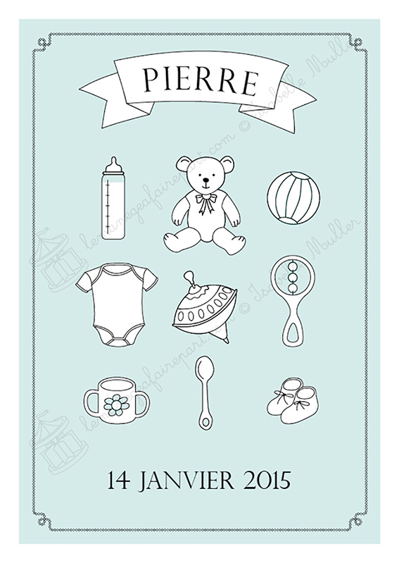 Faire-part de naissance - page 1 - Les objets de bébé - Garçon