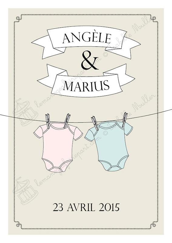 Faire-part de naissance - page 1 - Les objets de bébé - Jumeaux
