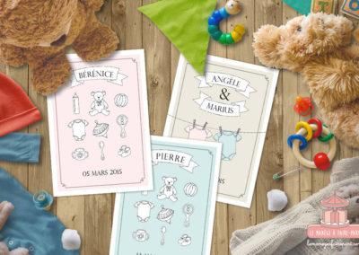 Faire-part de naissance – Les objets de bébé