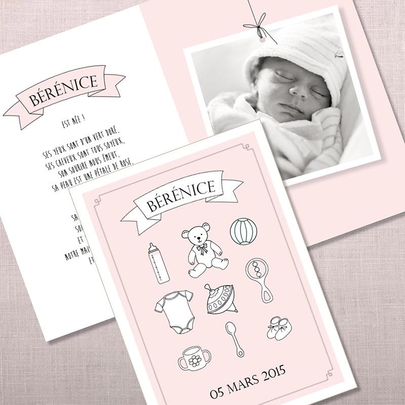 Faire-part de naissance - page 1 - Les objets de bébé - FILLE