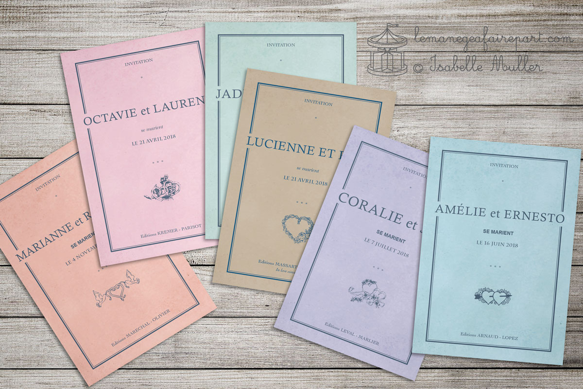 Faire-part mariage cahier vintage - Plusieurs coloris et motifs de couverture au choix !