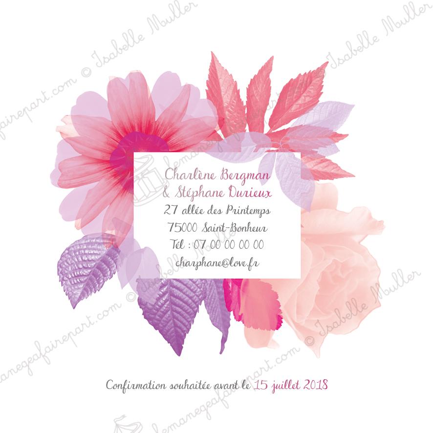 Faire-part de mariage Camaieu floral page 4