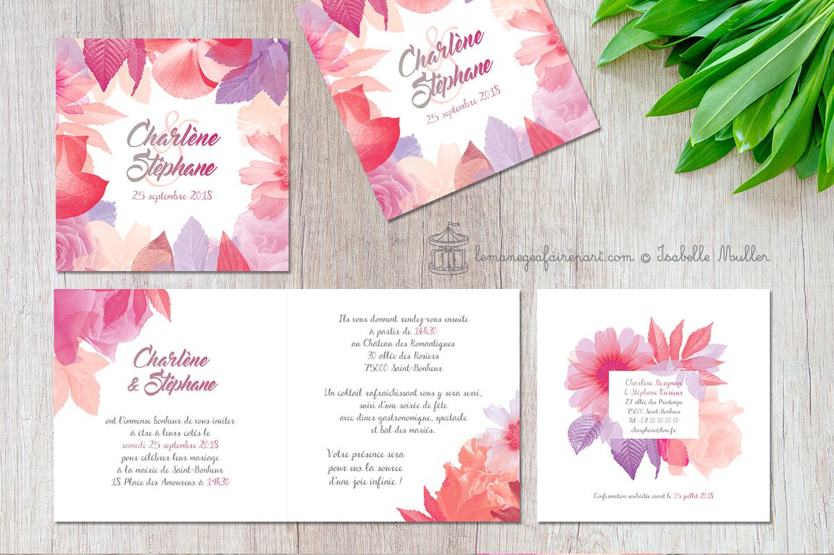 Faire-part de mariage - Camaïeu floral