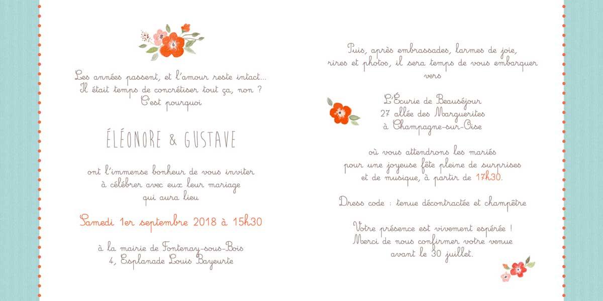 Faire-part de mariage - Les petites fleurs rouges - Page 2 et 3 Fond bleu