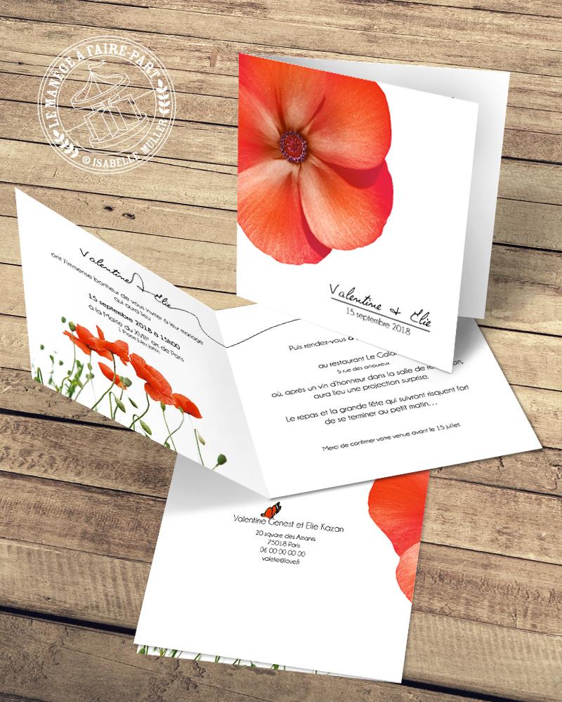 Faire-part de mariage - Les petites fleurs rouges